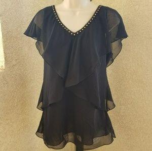 White House Black Market vneck layered blouse 12